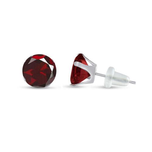 10K Solide Or Blanc Véritable Rouge Grenat Clous d/'oreilles ronds-Choisissez votre taille