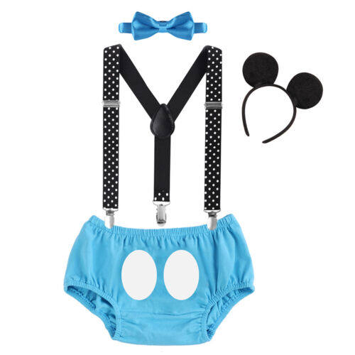 Mickey Mouse Baby Boys 1st Birthday Cake Smash Photo Prop Costume 4PCS Outfits