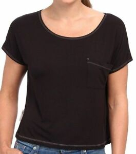 UGG-Sleepwear-Women-039-s-Ella-Short-Sleeve-Soft-Knot-Top-Scoop-Neck-Black-Medium