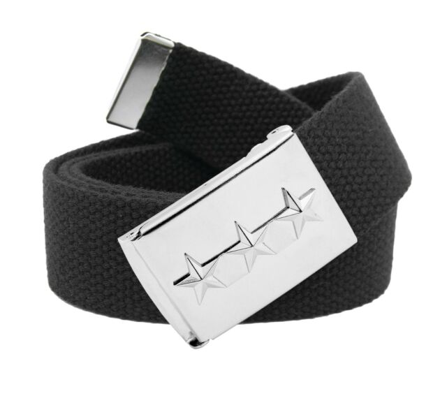 Mens Embossed 13 Silver Flip Top Military Buckle with Canvas Web Belt