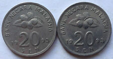 Second Series 20 sen coin 1993 2 pcs