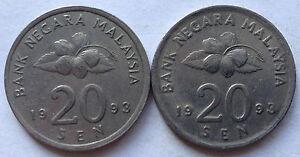 Second Series 20 sen coin 1993 2 pcs