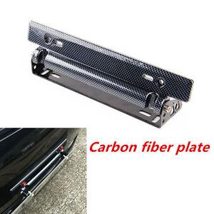 Image is loading Adjustable-Racing-Carbon-Fiber-Style-Car-Van-License-  sc 1 st  eBay & Adjustable Racing Carbon Fiber Style Car Van License Plate Frame ...