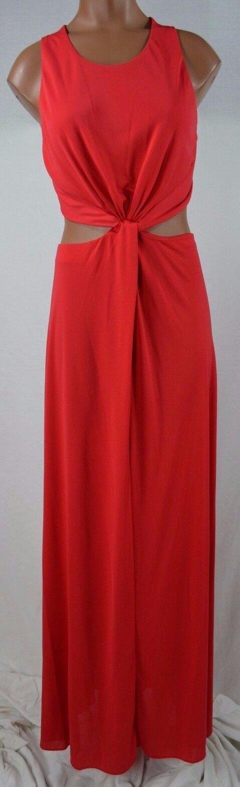 BCBGMAXAZRIA Olesya Jewelred Red Draped Cutout Gown Dress size M