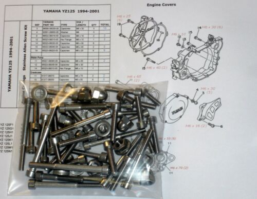 Yamaha YZ125 94-01 Engine Covers Stainless Capscrews Bolts /& Cylinder Dome Nuts