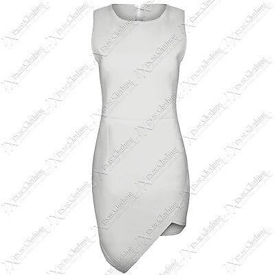 NEW LADIES ASYMMETRIC HEM BODYCON DRESSES WOMEN WRAP LOOK SKIRT SLEEVELESS DRESS