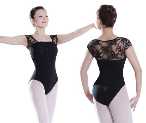 Quality Assured Freeshipping Floral Stretch Lace Capped Sleeve Leotards