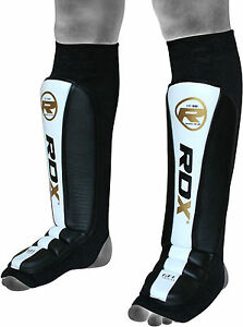 RDX-Leather-Gel-Shin-Instep-Pads-MMA-Leg-Foot-Guards-Muay-Thai-Kick-Boxing-UFC-Y