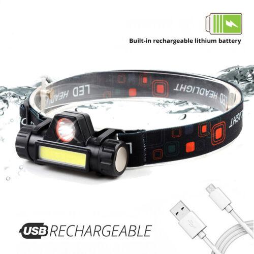 USB Rechargeable Powerful Magnet Camping Work Flashlight COB Head Light Headlamp