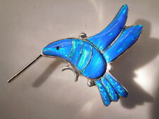 Hummingbird BLUE Bird Fire Opal Sterling silver 925 Pendant Pin Brooch Ladies