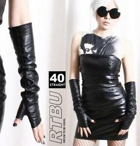 40cm-15-75-034-Fingerless-Genuine-Leather-Gothic-emo-Punk-Elbow-Arm-Warmer-Gloves