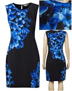 Epilogue-Jersey-Size-10-14-Black-Floral-Pencil-Skirt-Sheath-Tunic-Dress