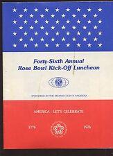 1976 NCAA Football Rose Bowl Kick Off Luncheon EX+