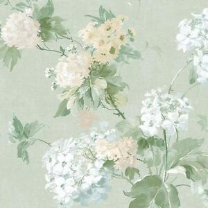 Wallpaper-Designer-Pastel-Watercolor-Floral-Hydrangea-Flowers-on-Soft-Green