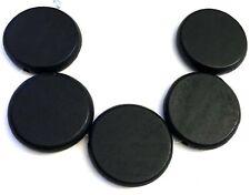 5 Wood Flat Round Disc Beads 34mm - Black