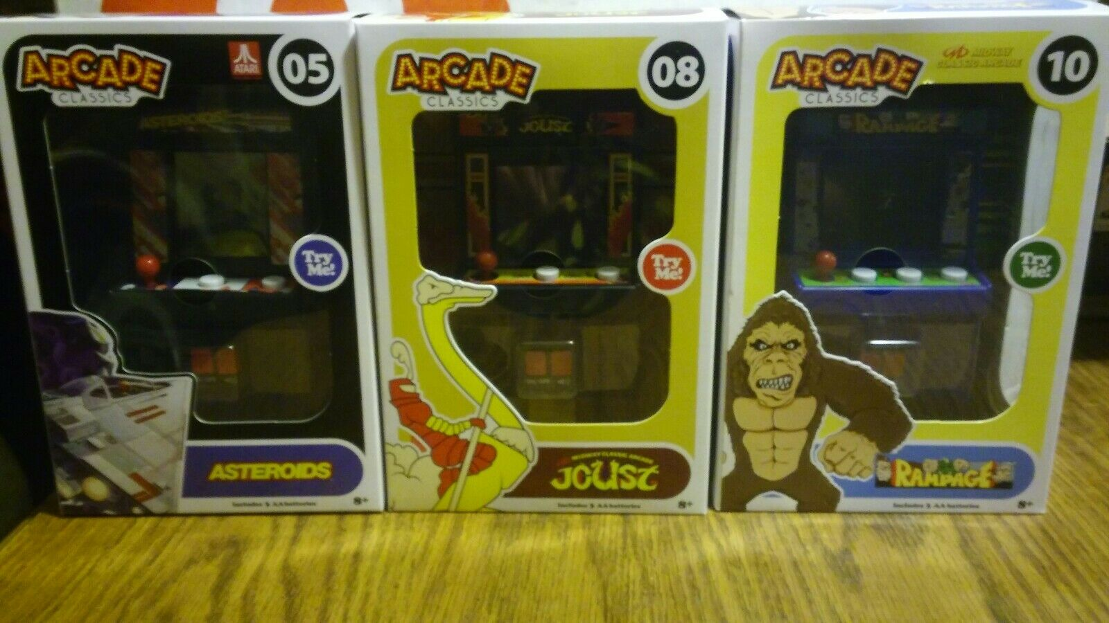 New Mini Handheld Arcade Classics lot of 3 Games Asteroids, Rampage & Joust