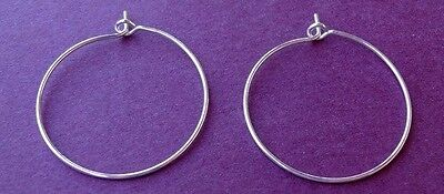 200 Silver-plated Brass 25mm Beading Hoop Beaded Wine Glass Charms Wire