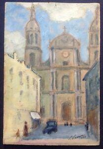 Tableau-ancien-Impressionniste-La-Cathedrale-de-Nancy-Gouache-signee-c1933