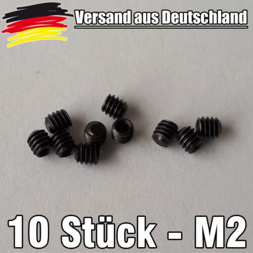 10 Madenschrauben M2 Gewindestifte Innensechskant 2 mm x 4 mm EN 1.7220 L0065