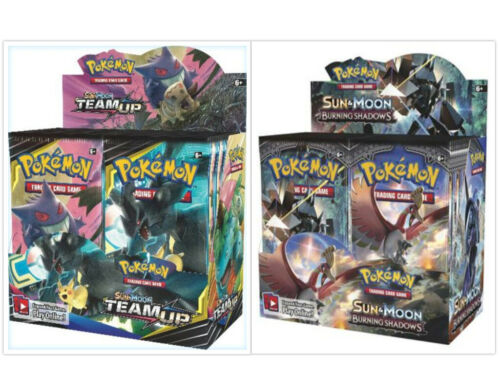 Pokemon TCG Sun & Moon Team Up + Burning Shadows Booster Box Bundle