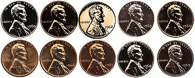 1959 1960-1969 Lincoln Memorial Cent UNC Mint Run 22 Penny Set P D S