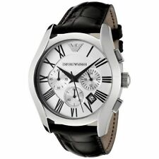 EMPORIO ARMANI AR0669 BLACK STRAP SILVER DIAL CHRONOGRAPH WRIST WATCH FOR MENS