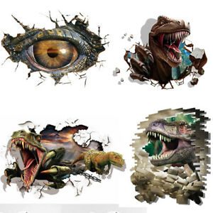 Image is loading 3D-Dinosaur-EYE-Crack-Wall-Stickers-Sticker-Children- 7323494562