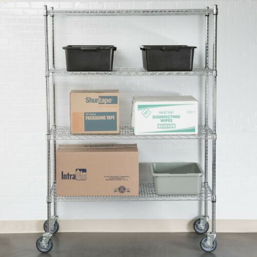 """/""""ANY SIZE/"""" Heavy Duty Mobile Chrome Metal Wire Shelf Rack Commercial NSF Casters"""