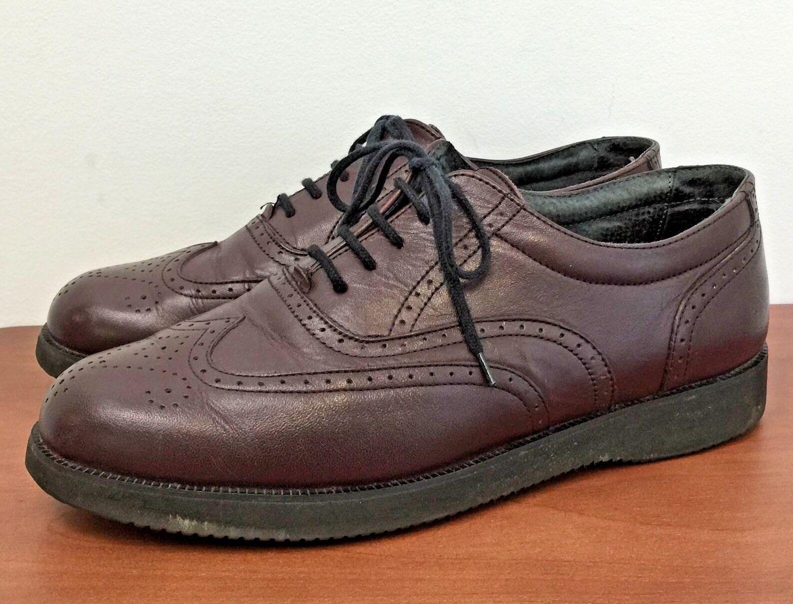 Vtg DR SCHOLLS Burgundy Leather Wing Tip Oxfords shoes Vibram Sole MENS 11 M