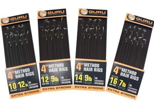 "Guru Method Hair Rigs 4/"" With Speed Stop Carp Coarse"