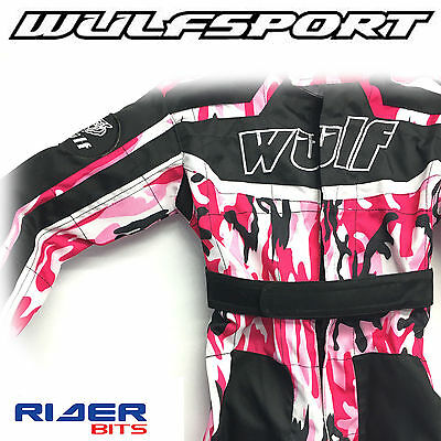 WULFSPORT KIDS CUB UNISEX CHILDS KARTSUIT OVERALL CAMO BLACK RED TOUGH ELASTIC