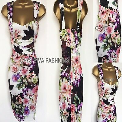 Printed Bardot Bodycon Evening Cut Out Occasion Midi Wiggle Dress Sizes UK 8-14