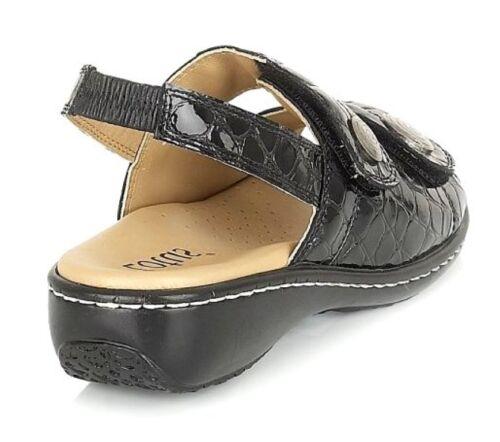 pour bretelles Burr noir Sandales Lotus femmes en cuir croco neuves fHw0q8