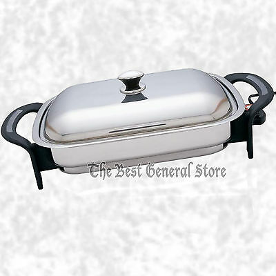 "LARGE  16"" Surgical Stainless Steel Electric Skillet Frying Fry Pan Rectangular"