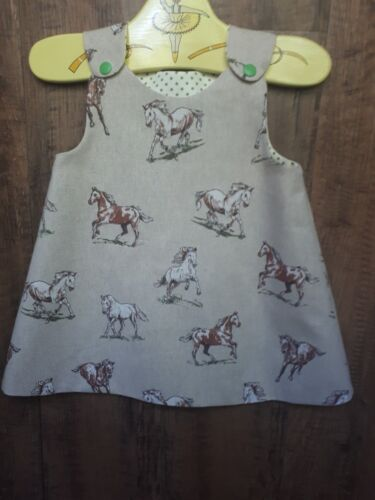 BNWT Girls Pinafore HORSE design oatmeal linen style Fabric 0-3-6-9-12-18-24m