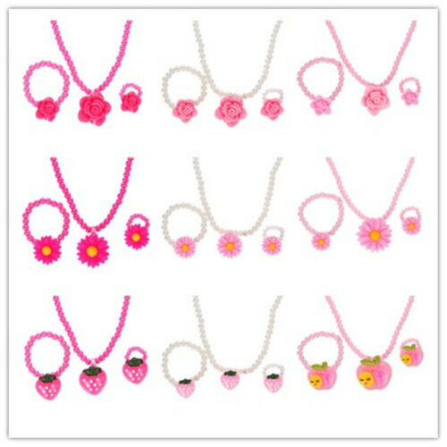 Children Gift Necklace Bracelet Princess Baby Beads Cute Ring Set Jewelry UK