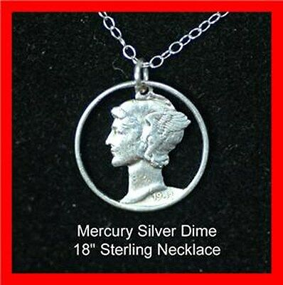 Old US 1940/'s Silver Mercury Liberty Dime Cut Out Coin Necklace Pendant