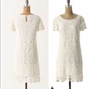 41bb63fd4e45 Image is loading Anthropologie-Moulinette-Soeurs-Horkelia-Shift-white-lace- dress-