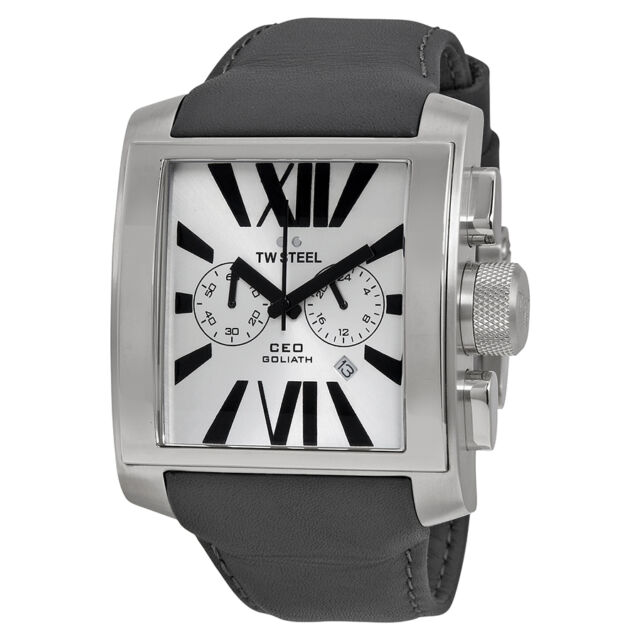 TW Steel CEO Goliath Silver Sunray Chronograph Dial 42MM Mens Watch CE3003