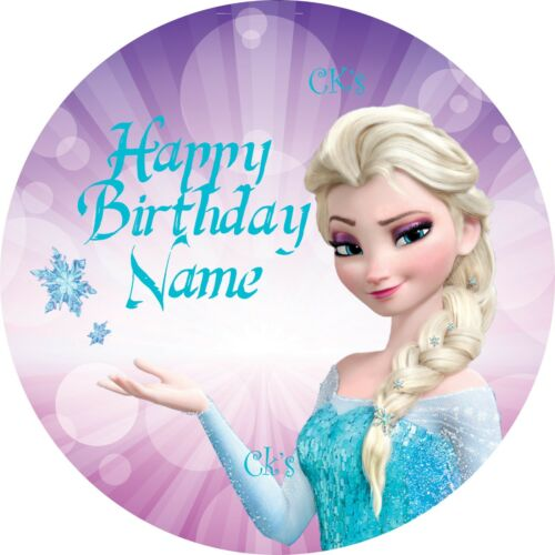 1 Elsa PERSONALIZED 7 Inch Edible Image Cake Cupcake Toppers