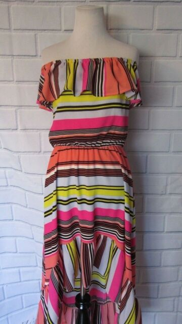6552a10b87d NWT Charles Henry Off the Shoulder Dress Sz L Ruffle High Low Neon Stripes  Pink