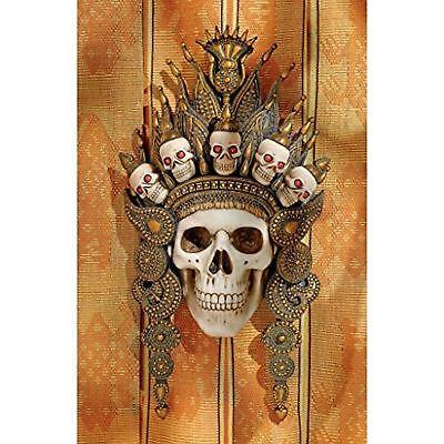 "14/"" Indonesian Tribal Crown of Death Bali God Skull Sculptural Wall Hanging"
