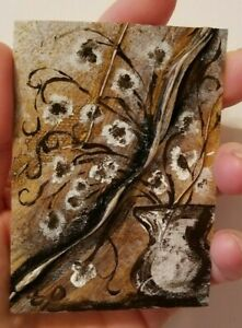 Original-Acrylic-on-canvas-ACEO-Miniature-vase-painting-original-floral-painting