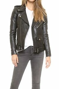 Real High Women's Style Slim Jacket Leather Fit Biker Quality Black qX16xUwU
