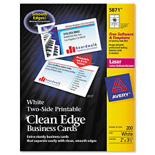 Avery clean edge laser business cards ebay avery clean edge business cards laser 2 x 3 12 white 1000box reheart Image collections
