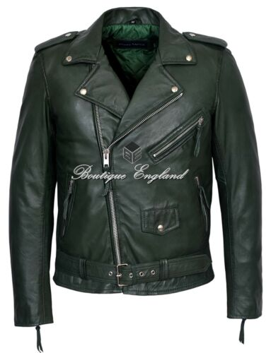 /'BRANDO/' Classic Men/'s Green Leather Jacket Designer Fitted Real Lambskin SR MBF