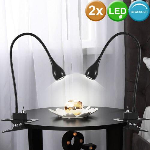 2er Set LED Schreib Tisch Lampen Wohnraum Klemm Strahler Lese Leuchten flexibel