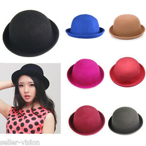 Fashion-Lady-Vogue-Vintage-Women-039-s-Wool-Cute-Trendy-Bowler-Derby-Hat-Fashion