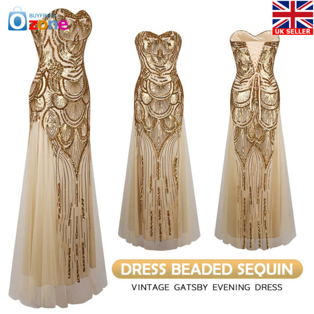 1920s Great Gatsby Flapper Dress Party Evening Bridesmaid Prom Gown Long Dresses