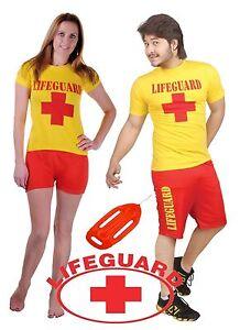 Adult Men Red Guard Yellow Life Beach Miami Men Rescue Team Fancy Dress